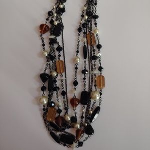 Lia Sophia Multi Strand Glass Bead Pearl Necklace